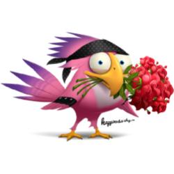 Птах с букетом